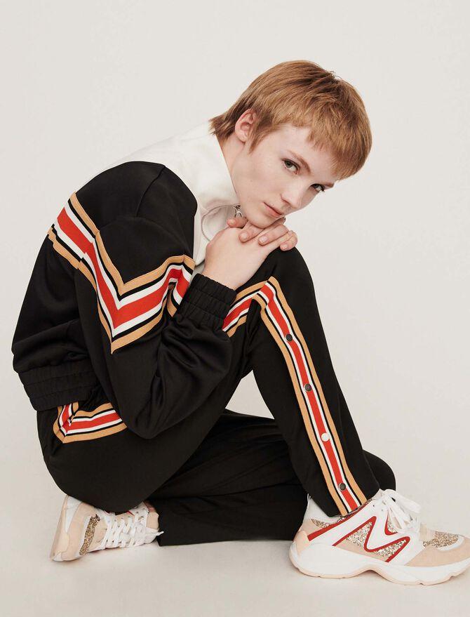 Streifen Sweatshirt mit Reißverschluss - Blazers - MAJE