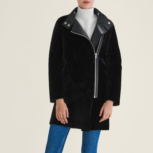 Mantel aus Fellvelours : Manteaux farbe Schwarz