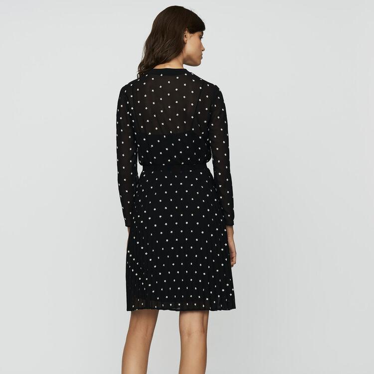 Plissee-Kleid mit Stickereien : Neue Kollektion farbe SCHWARZ