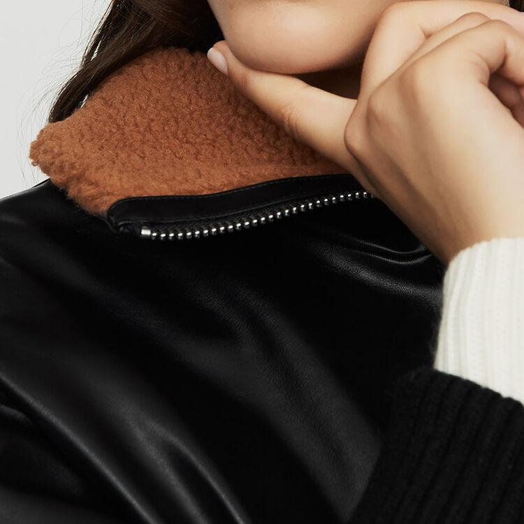 Blazer im Lederstil mit Fellkragen : Jacken farbe Schwarz