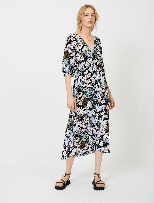 마쥬 원피스 MAJE Gerafftes Viskosekleid mit Print,Jungle Noir