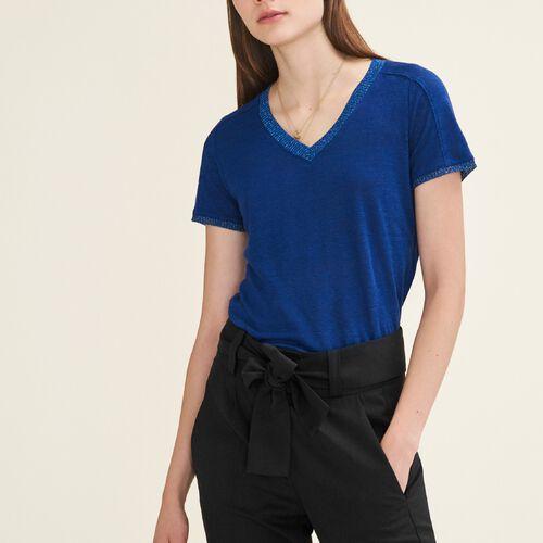 T-Shirt mit Lurexdetails - T-Shirts - MAJE