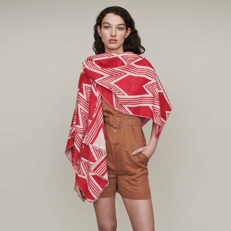 Poncho mit Art Deko Print : New in : Sommer Kollektion farbe Rot