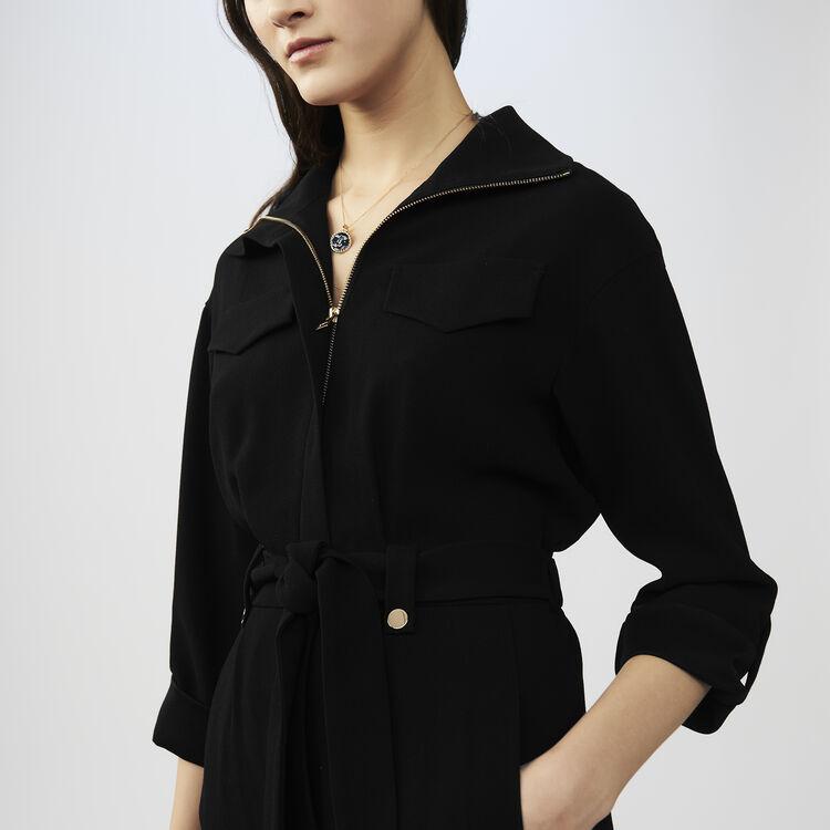 Schulterfreies Seidentop : Hosen farbe Schwarz
