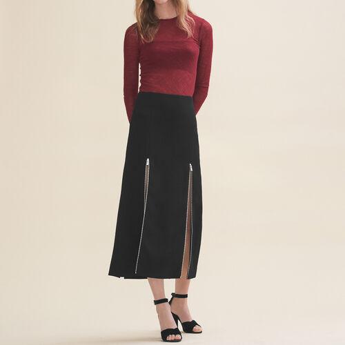 Langer Rock aus Krepp : Jupes & Shorts farbe Schwarz