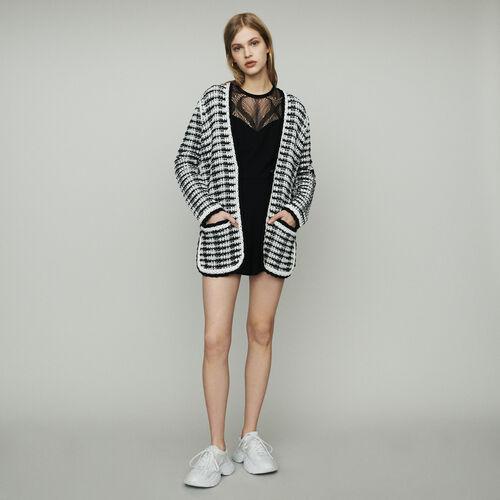 Langer Cardigan mit Tweed-Effekt : Pullover & Strickjacken farbe Zweifarbig