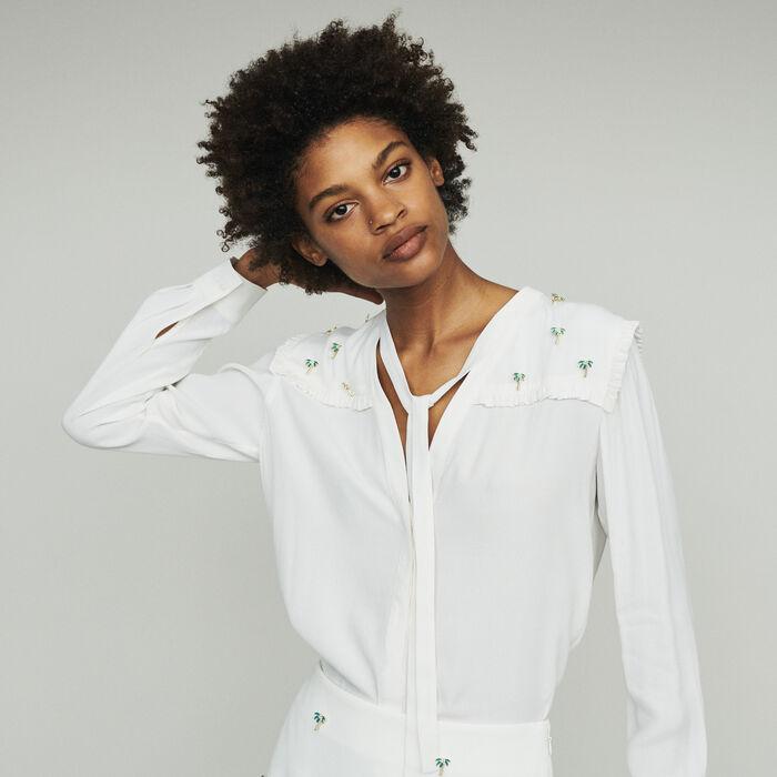 Krepp Bluse mit Palmenschmuck : Tops & Hemden farbe ECRU
