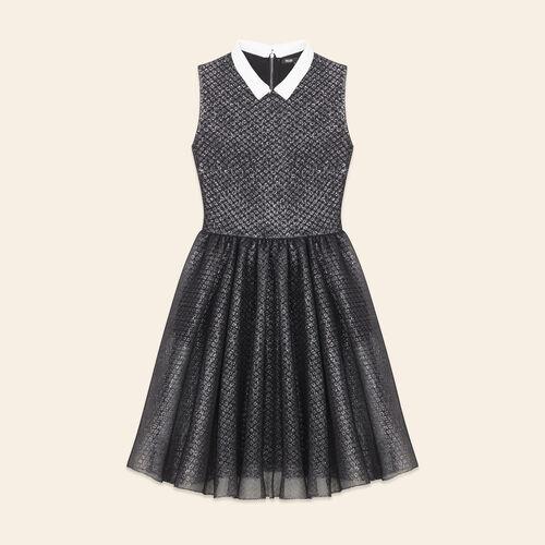 Ärmelloses Kleid aus Tüll und Lurex : Robes farbe Silber