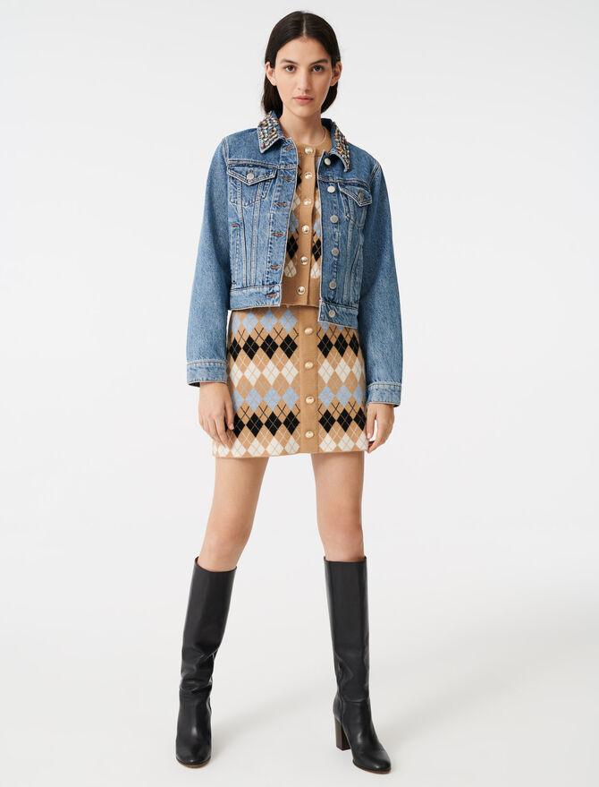 Jeansblouson mit steinbesetztem Kragen -  - MAJE