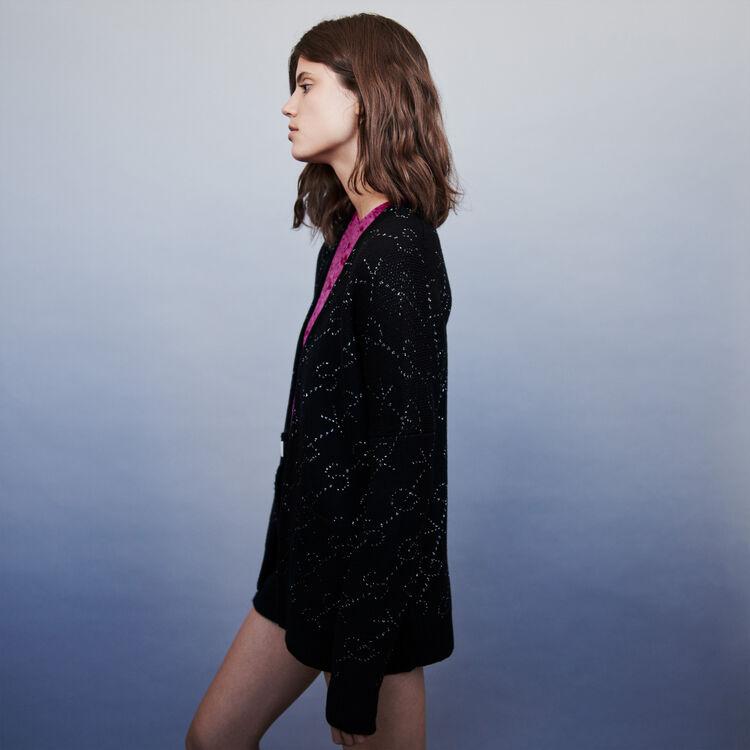 Cardigan aus Jacquard Lurex : Pullover & Strickjacken farbe Schwarz