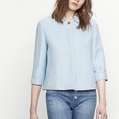 Kurze Jacke aus Natté-Gewebe : Jacken und Blousons farbe Himmelblau