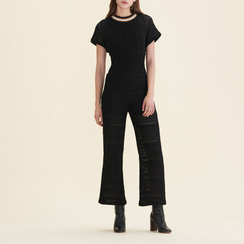 Overall aus Feinstrick : Pantalons & Jeans farbe Schwarz