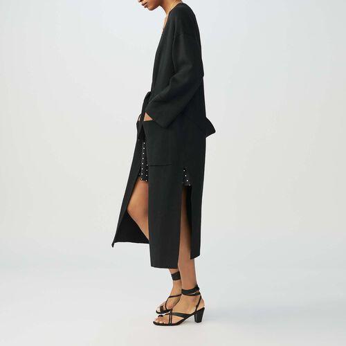 Lange Weste mit Gürtel : Strickwaren farbe Schwarz