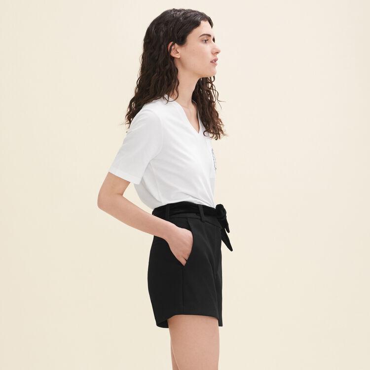 Shorts mit hohem Bund aus Crêpe : null farbe Schwarz