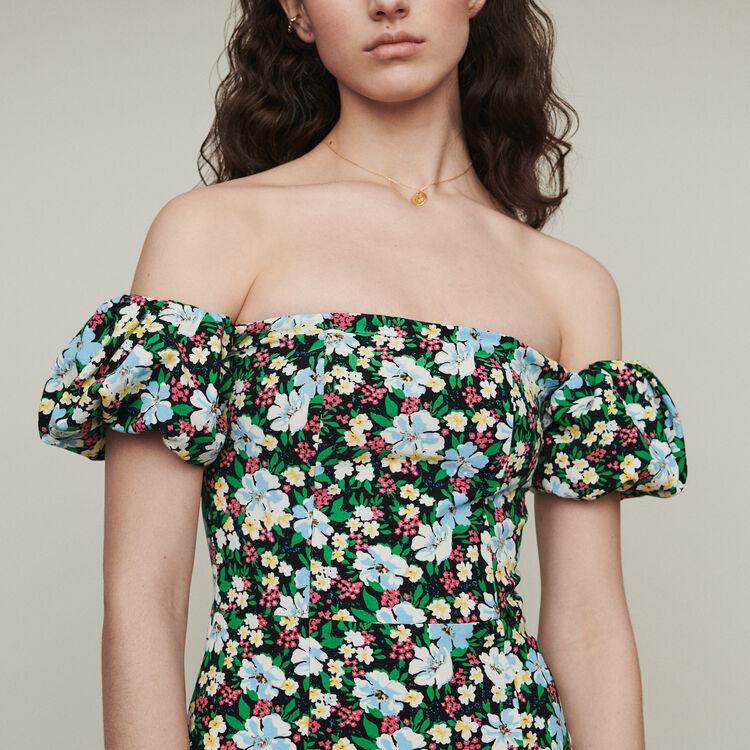 Schulterfreies bedrucktes Bustier Kleid : Kleider farbe Print