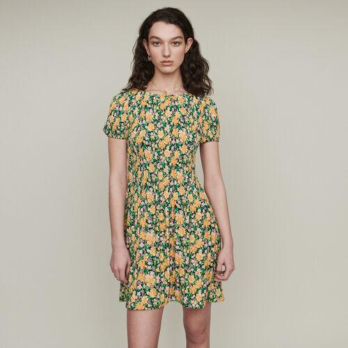 Plissee Kleid mit Blumen Print : Kleider farbe IMPRIME