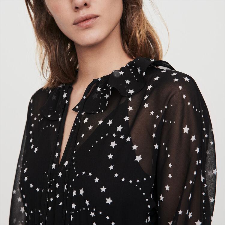 Foulard Kleid aus Musselin : Kleider farbe Schwarz