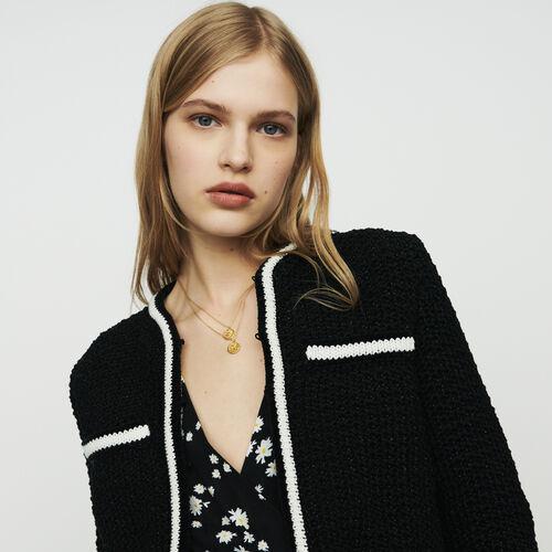 Kurzer Cardigan aus Wolle : Pullover & Strickjacken farbe Schwarz