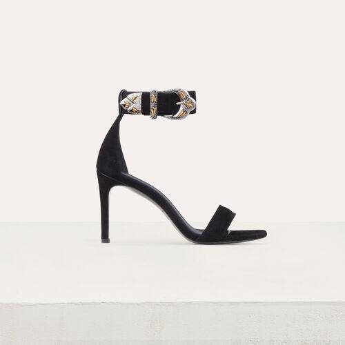 Wildleder-Sandalen mit Absatz : Pumps farbe Schwarz