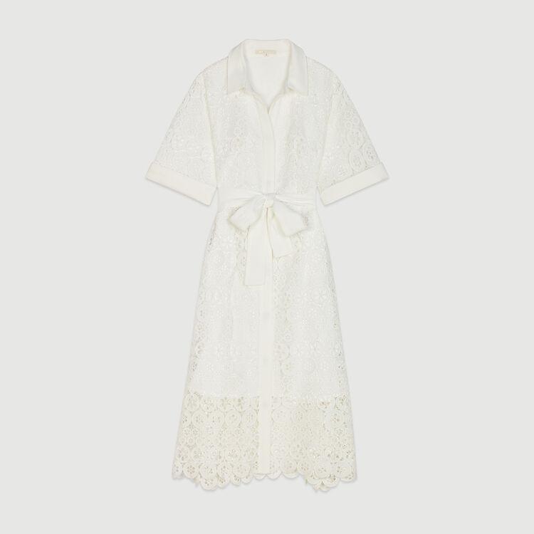 Midi Kleid mit Guipure Margeriten : Kleider farbe Weiss