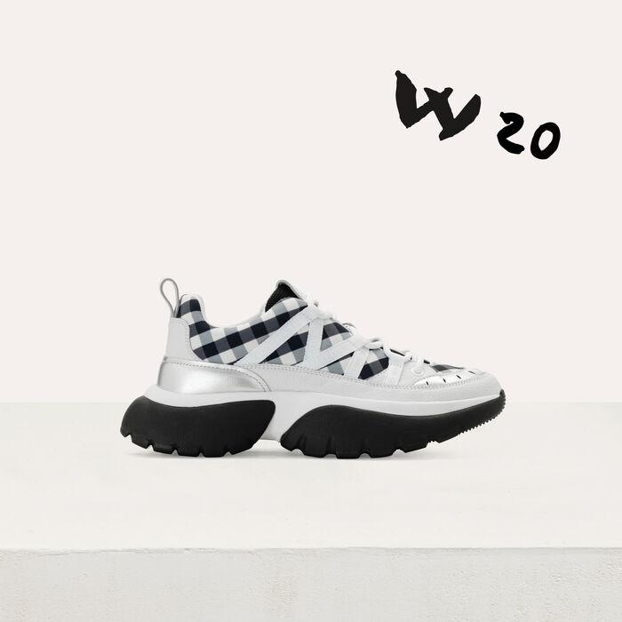 W20 Urban Ledersneaker mit Vichy : Sneakers farbe Schwarz
