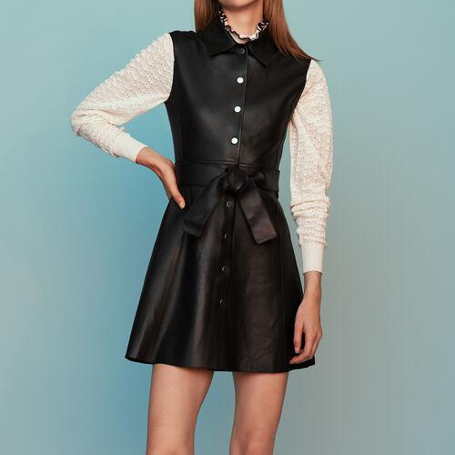 Ärmelloses Hemdkleid aus Leder : Leder farbe Schwarz