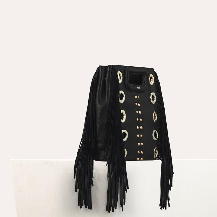 Leder-M-Tasche mit Nieten und Ösen : M Tasche farbe Schwarz