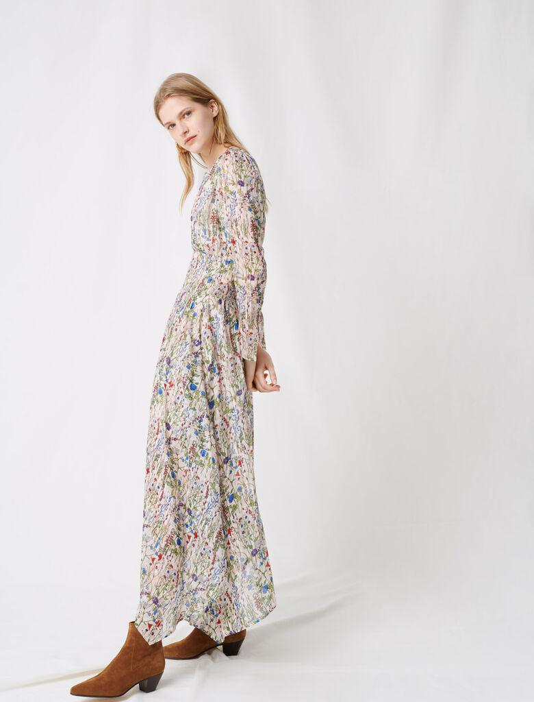 Langes, asymmetrisches florales Kleid