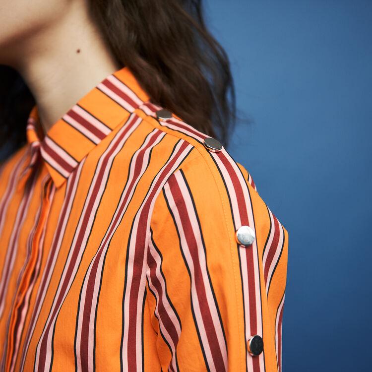 Gestreiftes Baumwollhemd : Hemden farbe Orange