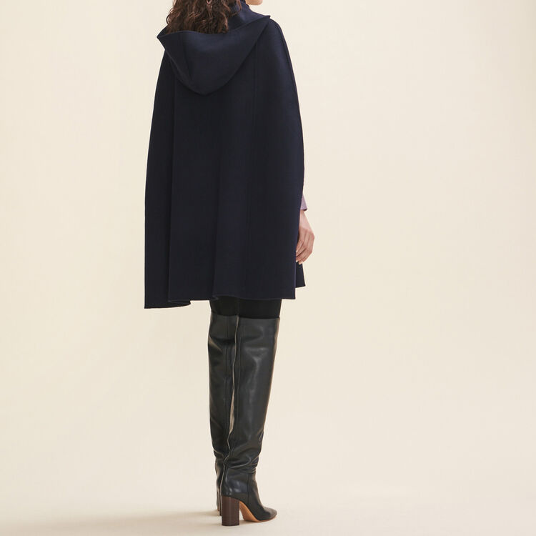 Cape aus Doubleface-Wolle : Manteaux farbe Marineblau