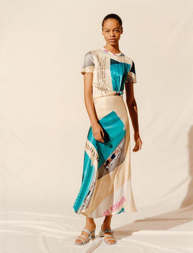 Foulard-Schnürkleid aus Satin mit Print - Kleider - MAJE
