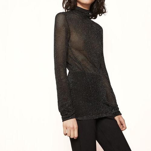 Rollkragenpullover aus Lurexstrick : Pullover und Cardigans farbe Schwarz