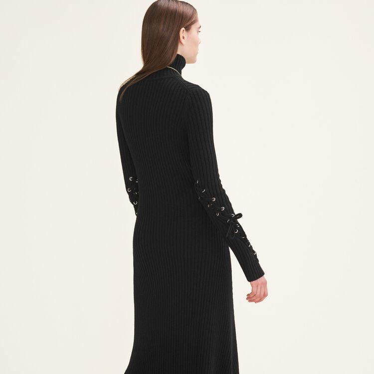Langes Schlauchkleid aus Strick : Robes farbe Schwarz