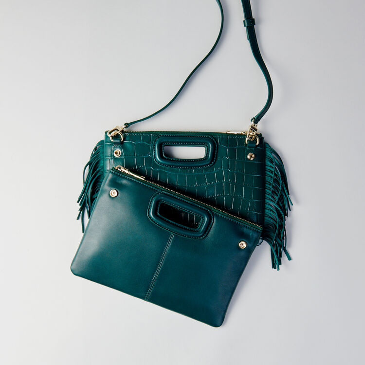 Crocodile embossed-leather M Duo clutch : M Duo farbe VERT