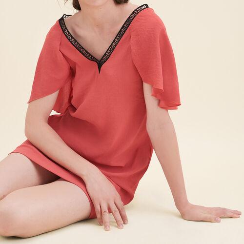Gerade geschnittenes Kleid aus Crêpe : Kleider farbe Orange