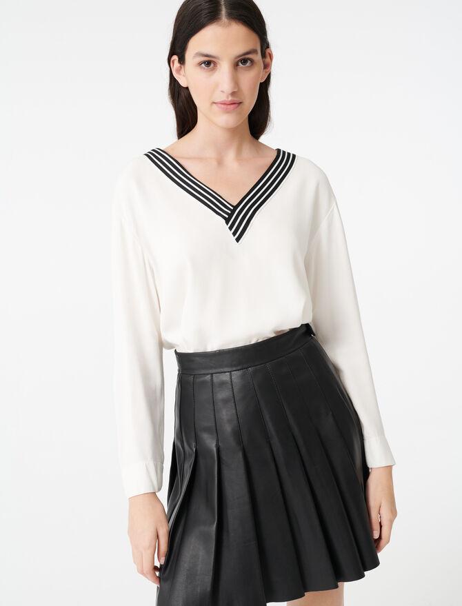 Top en crêpe avec détail contrasté - Tops & Hemden - MAJE