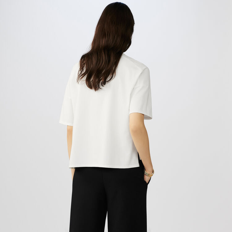 Baumwoll-T-Shirt mit Stickereien : T-Shirts farbe Weiss