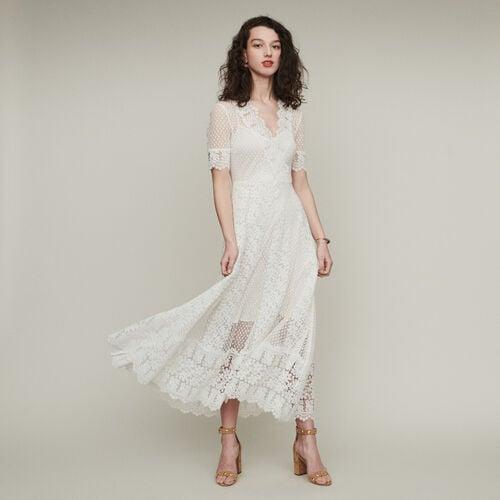 Langes Plumetis Kleid und Spitzen : Kleider farbe Weiss