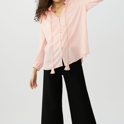 Blouse shirt with drawstring : Hemden farbe Rosa