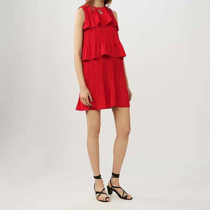 Ärmelloses Plissee-Kleid mit Rüschen : Kleider farbe ROUGE