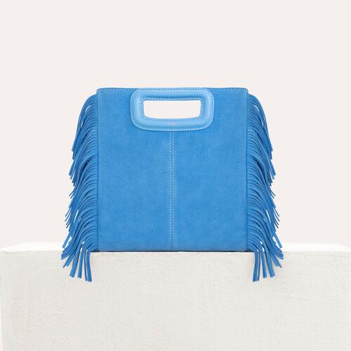 M-Tasche mit Fransen aus Veloursleder : M Tasche farbe Beige