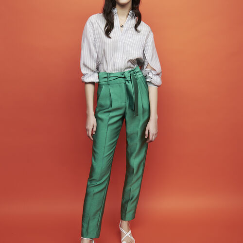 Trousers with knotted belt : Hosen farbe Grün