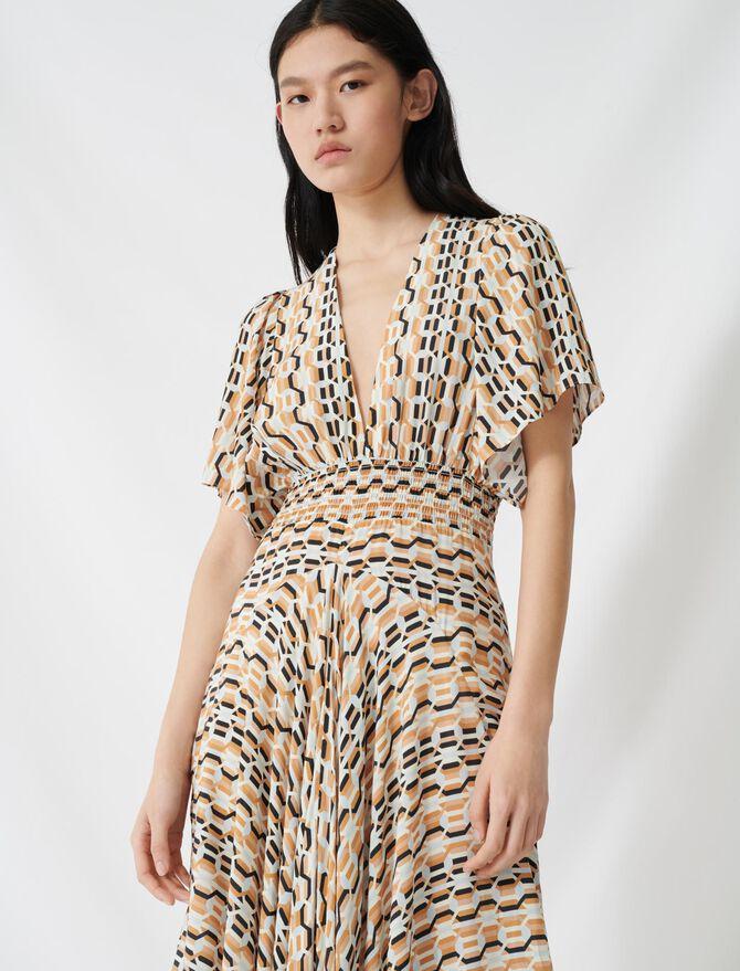 Bedrucktes Kleid mit gesmokter Taille - Kleider - MAJE