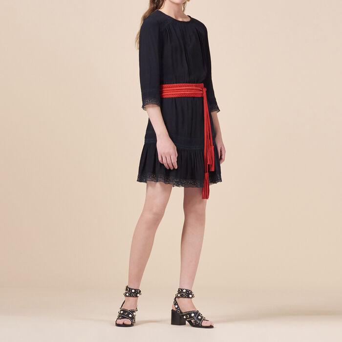 Fließendes Kleid mit Spitze -  - MAJE
