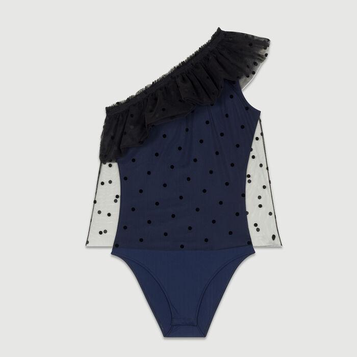 One-shoulder ruffle dot top : Tops farbe Marineblau