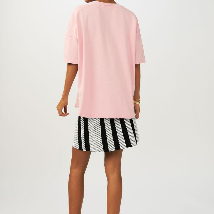 Oversize-T-Shirt mit Stickerei : T-Shirts farbe Rosa