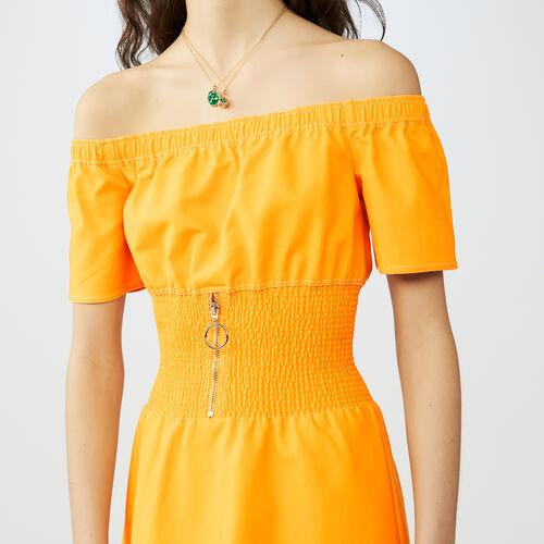 Midi dress with smocked waist : Kleider farbe Gelb