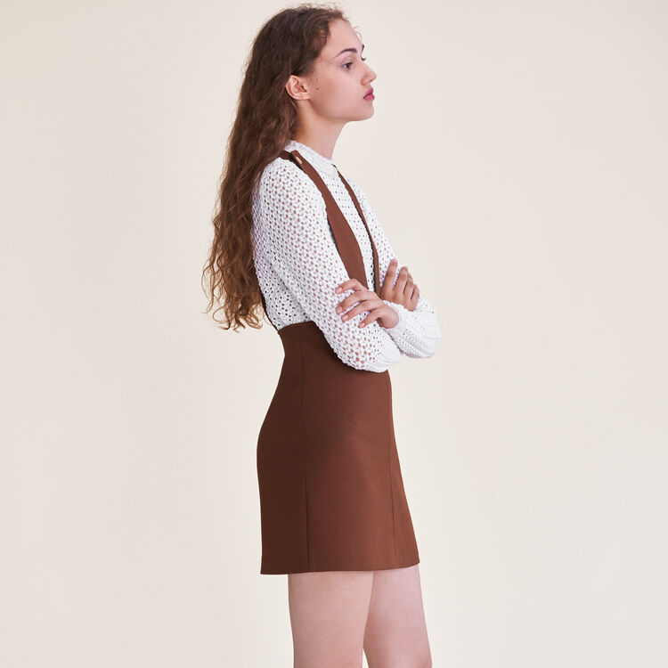 Kurzes Kleid mit Trägern : Robes farbe Karamell