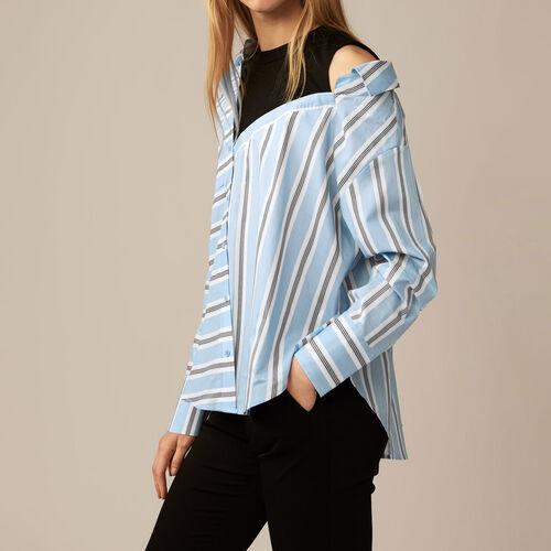 Gestreiftes, strukturloses Popeline-Hemd : Kategorien farbe Himmelblau