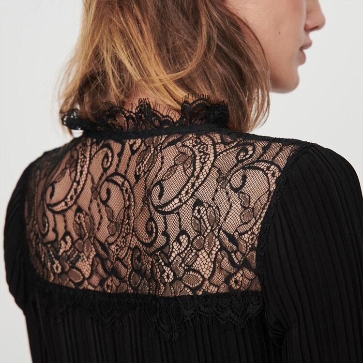 Plissee Kleid mit Spitze : Kleider farbe Schwarz